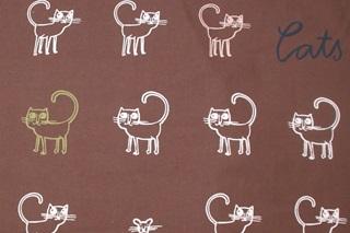 Afbeelding van Cats Brown poplin