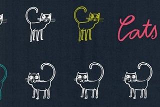Afbeelding van Cats Blue poplin