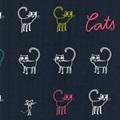 Cats Blue poplin