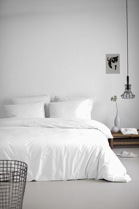 Foto White Fitted Sheet Thick Mattress Percale