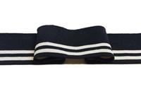 Zwarte-Ecru streep boord 1x1 (met elastan)