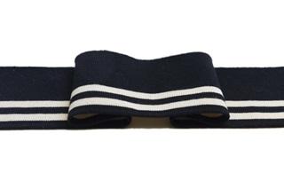 Afbeelding van Zwarte-Ecru streep boord 1x1 (met elastan)