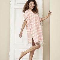 Blush Pink striped poncho-2
