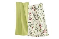 Wildflowers Red-Green tea towel set