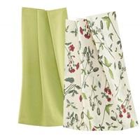 Wildflowers Red-Green tea towel set-2