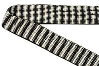 Naturel-Zwart band zigzag 25 mm